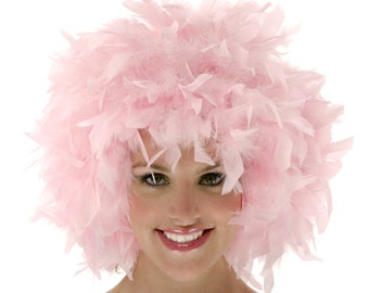 Pink Feather Wig, Dyed Chandelle Feather Wig, Costume Feather Wig for Halloween and Carnival, Photography Props, Costume Wigs ZUCKER®