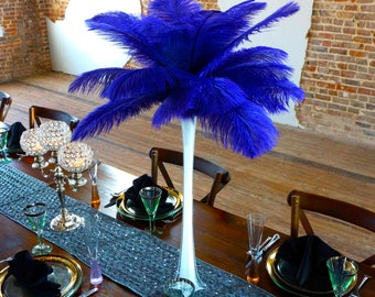 REGAL Ostrich Feather Centerpiece Set with WHITE Eiffel Tower Vase - For Great Gatsby Party, Special Event & Wedding Reception Decor ZUCKER®