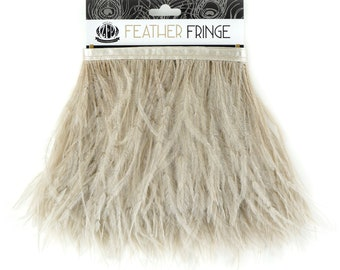 OATMEAL 1 YARD Ostrich Feather Fringe - For Bridal, Carnival Costume, Cosplay, Millinery, Fashion Design and Decor  ZUCKER®