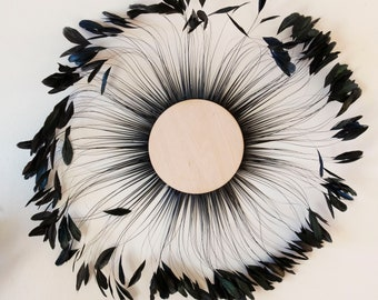 Unique Decorative Feather Wall Art, Feather Art, BLACK Stripped Rooster Coque Tails Wall Decor for Home and Office, Feather Placemat ZUCKER®
