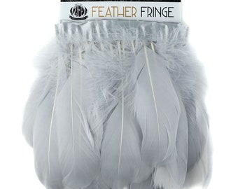 Grey Feather Fringe, 1 Yard Parried Goose Feather Fringe For DIY Art Crafts, Carnival Costume, Cosplay, Millinery & Fashion Design ZUCKER®