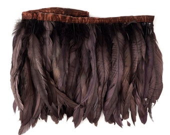 Brown Metallic Dyed Iridescent Coque Tail Feather Fringe - For DIY, Carnival, Cosplay, Costume, Millinery & Fashion Design ZUCKER®