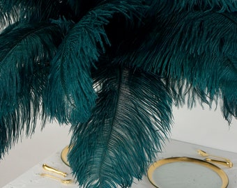 """Large Ostrich Feathers 17-25"""", 1 to 25 Pieces, TEAL Green, Wedding Centerpieces, Decor, Millinery, Carnival, Renaissance Festival ZUCKER®"""