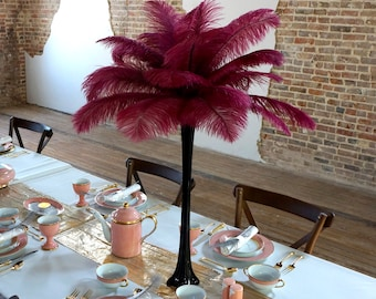 BURGUNDY Ostrich Feather Centerpiece Sets BLACK Eiffel Tower Vase - For Great Gatsby Party, Special Event & Wedding Reception Decor ZUCKER®