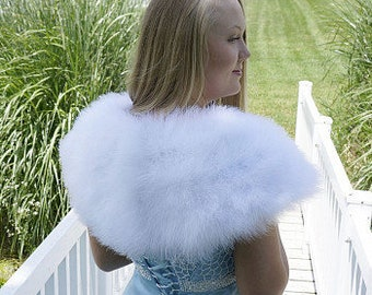 WHITE Fancy Marabou Feather Shawl w/Front Hook Closure For Special Events & Costume Parties ZUCKER® Feather Place Original Designs