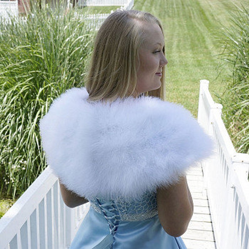 Handmade Peacock Feather Fur Cape Animal Scarf Dress Shawl Wrap Fancy Party Blue
