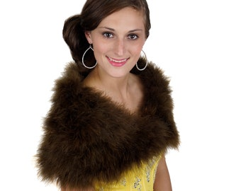 WALNUT Fancy Marabou Feather Shawl w/Front Hook Closure For Special Events & Costume Parties ZUCKER® Feather Place Original Designs