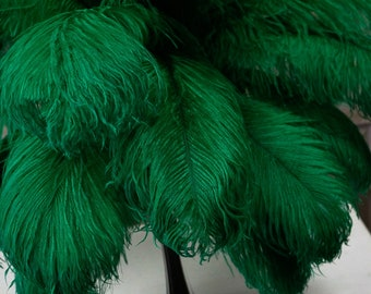 "Ostrich Feathers 17-20"" Emerald, 1 to 25 pcs, Ostrich Plumes, Carnival Samba, Ostrich Drab, Mardi Gras, Centerpiece, Feather Fan ZUCKER® USA"
