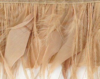 Ostrich and Goose Feather Fringe, 1YD Beige Feather Trim for DIY Art Crafts, Carnival, Cosplay, Costume, Millinery & Fashion Design ZUCKER®