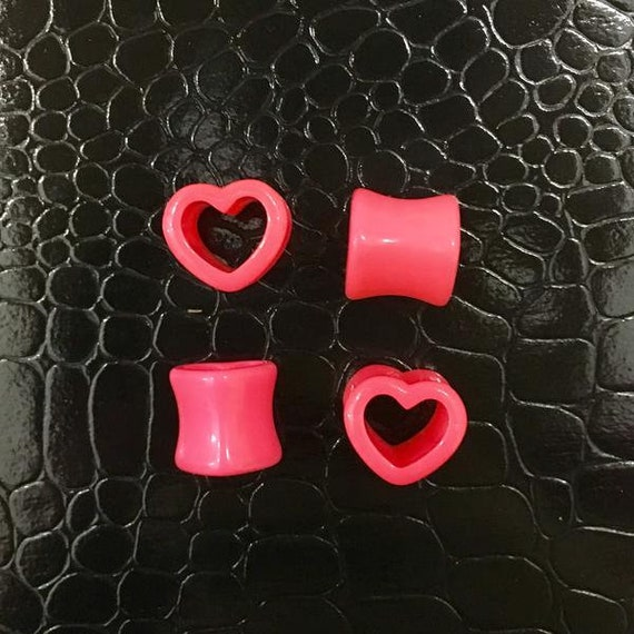 Pink Heart Shaped Ear Plugs Gauges Tunnels Pair Sizes: 6g 0g 00g 4g 12 Love Hearts Valentines Day Jewelry 2g by Pink Alien Babe