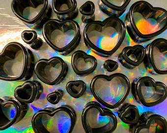 """Night Love Black Heart Shaped Ear Plugs Gauges Tunnels Hearts Sizes: 6g,4g,2g,0g,00g,1/2"""",9/16"""",5/8"""",11/16"""",3/4"""",7/8"""",1"""" by PINK ALIEN BABE"""