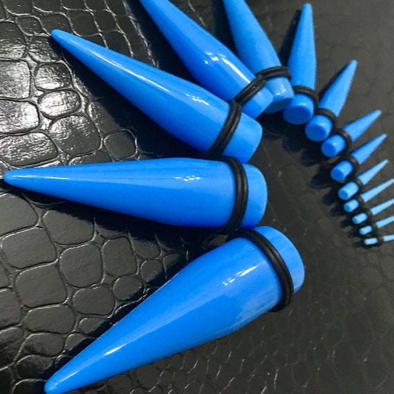 1 PAIR 0 GAUGE BLUE ACRYLIC TAPERS