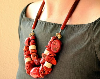 Coral Necklace,Modern Jewelry, Contemporary Jewelry,Statement Necklace,Massive Necklace,African Style,Natural Materials Jewelry,Gift,Unique