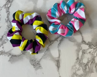 Two pack Handmade Scrunchies pride queer LGBT LGBTQIA transgender nonbinary rainbow stripes scrunchies