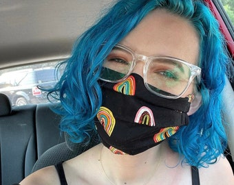Black Rainbow LGBTQIA+ queer gay pansexual bisexual lesbian  reversible pride month cotton face masks