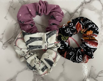 Three pack Handmade Scrunchies Halloween fall witches bats scrunchies
