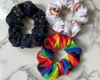 Three pack Handmade Scrunchies pride queer LGBT LGBTQIA gay rainbow polka dot stripes scrunchies