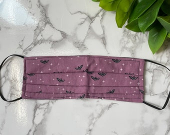 Bats and spooky trees reversible cotton face masks purple, and black halloween