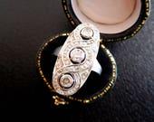 Art deco diamond panel ring, 1920s engagament ring, antique diamond ring, vintage 18ct dress ring, vintage engagament ring