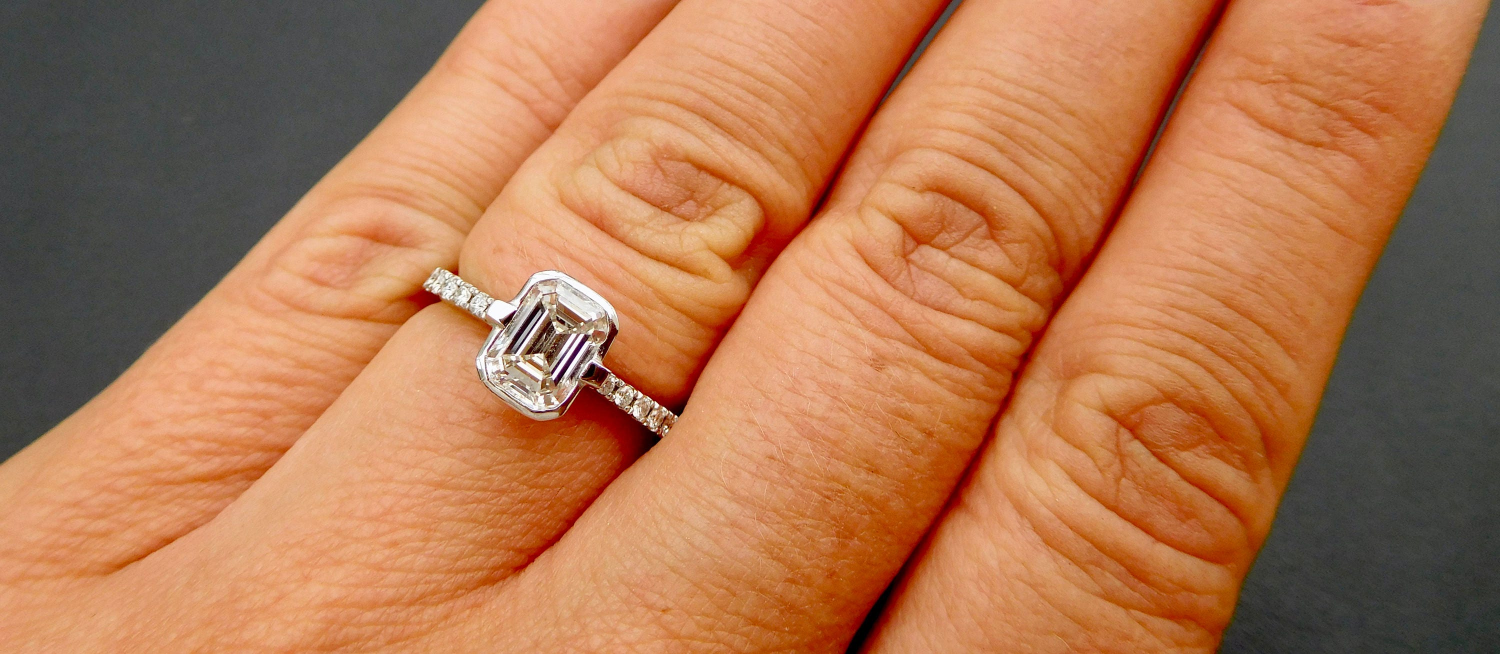 Emerald Cut Diamond Engagement Ring 1ct Emerald Cut Diamond 18ct White Gold And Solitaire Emerald Cut Diamond Ring With Pave Set Shoulders