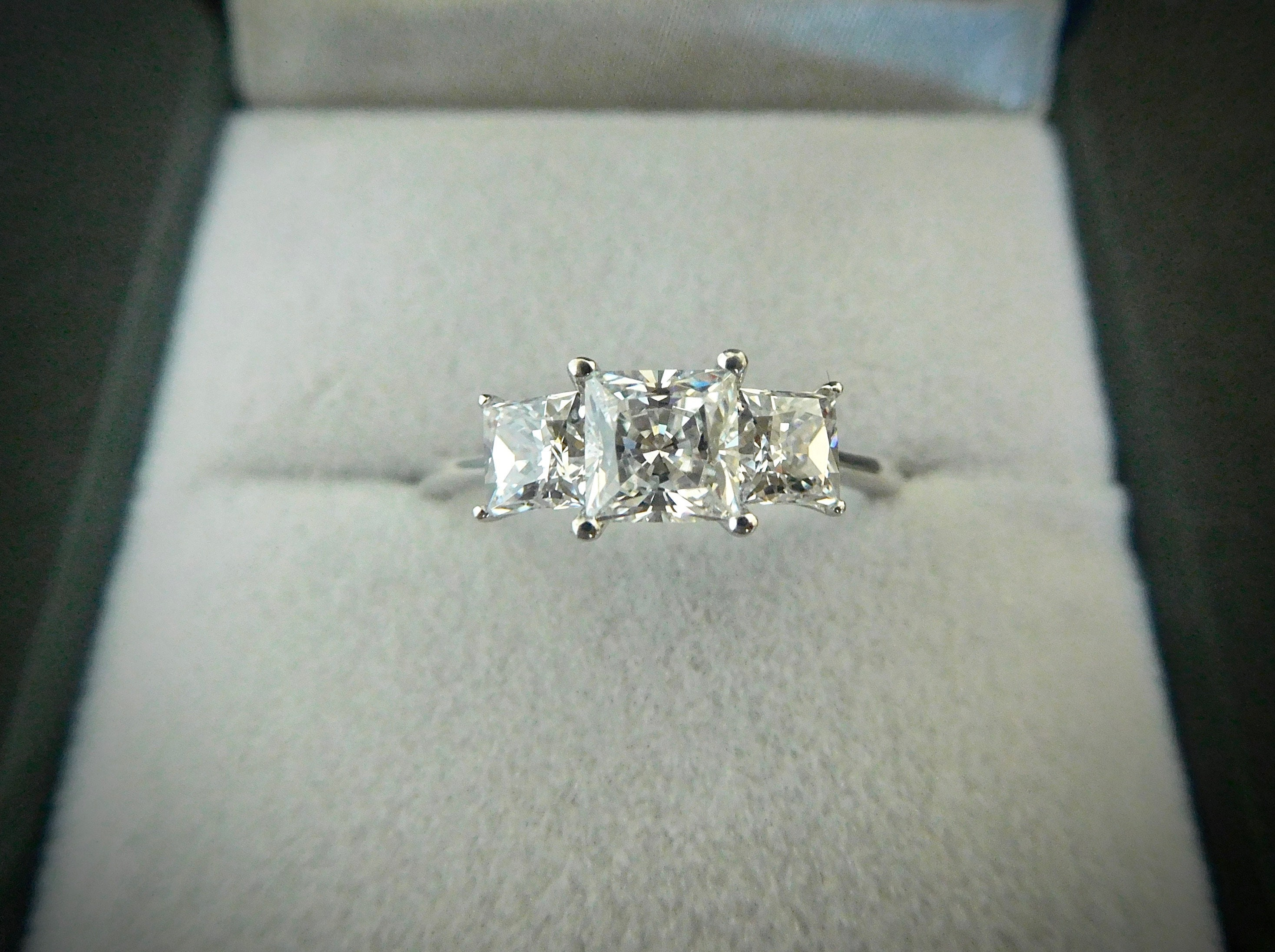 Three Stone Princess Cut Wedding Engagement Promise Ring 925 Sterling Silver