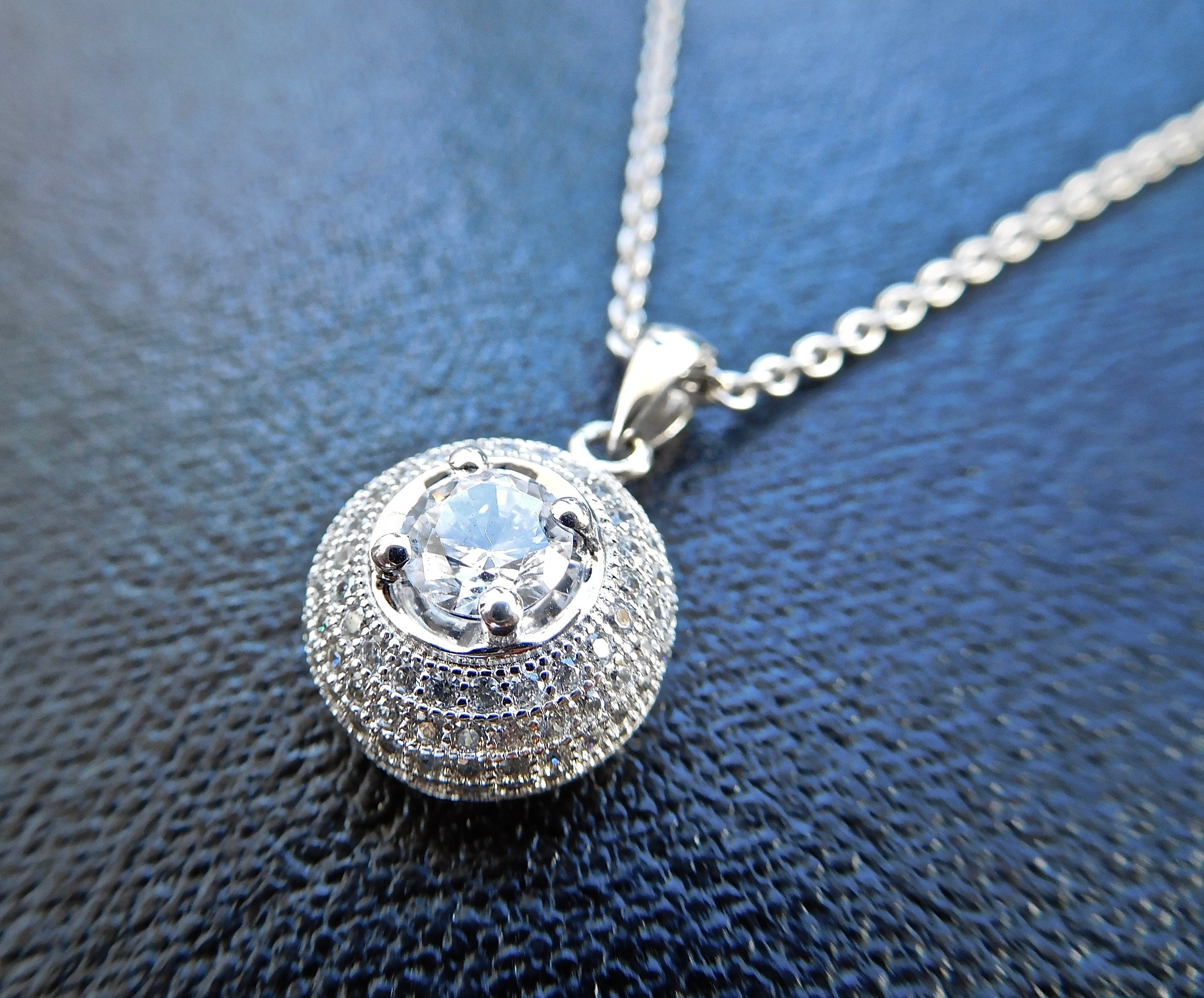 Finest diamond simulants used Sterling silver Vintage inspired silver and diamond necklace
