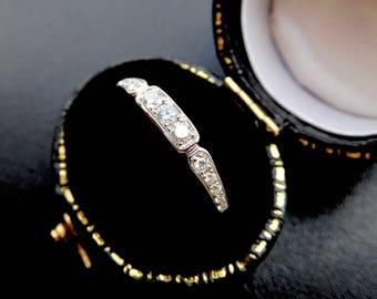Art Deco style diamond wedding ring, art deco style diamond eternity ring, vintage style diamond band, vintage style diamond