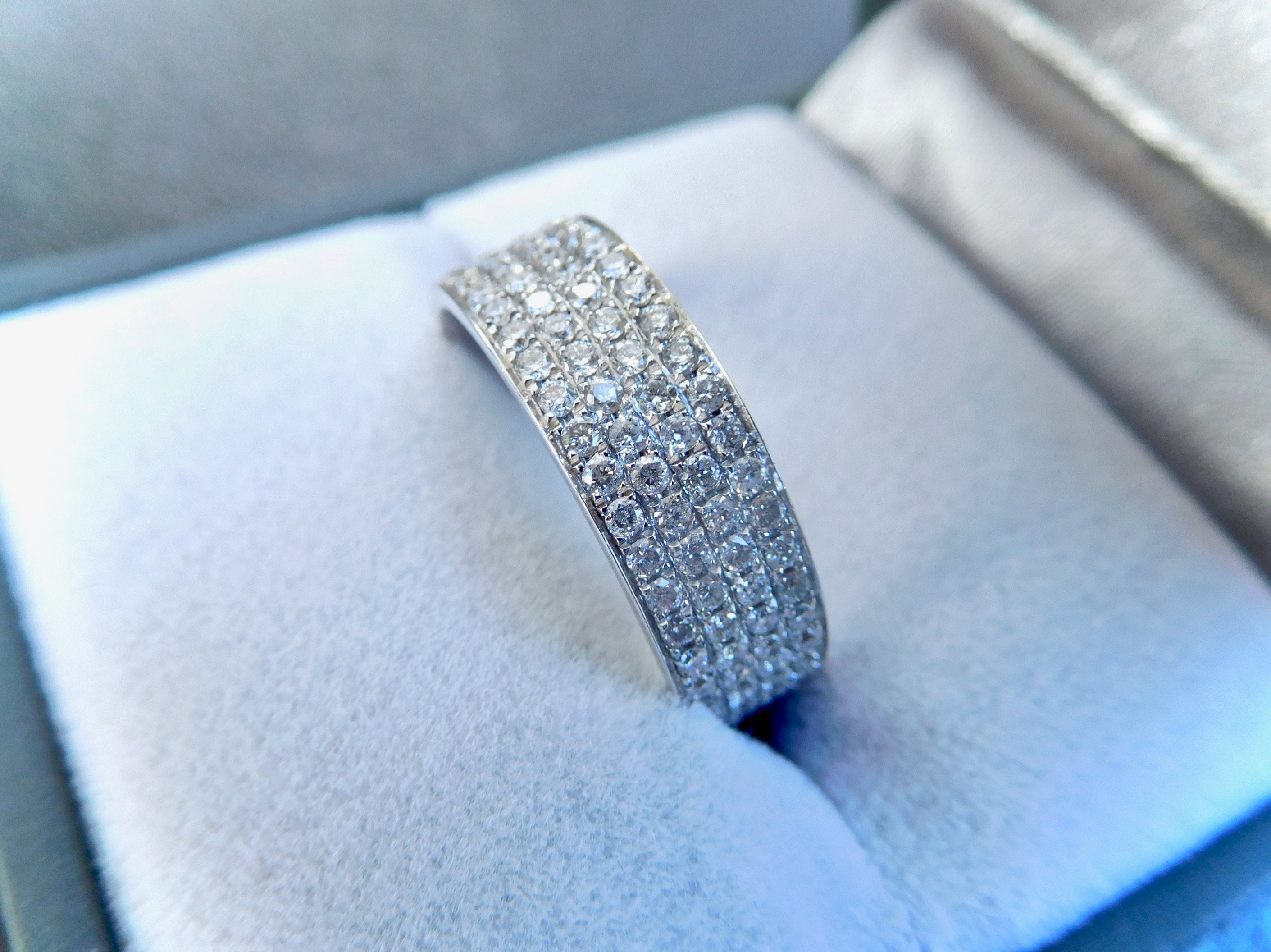 It is a graphic of 45ct white gold and diamond band, diamond eternity ring, thick