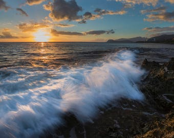 Photography Print- Landscape, Nature, Waves at sunset on a Rocky Hawaiian Coast