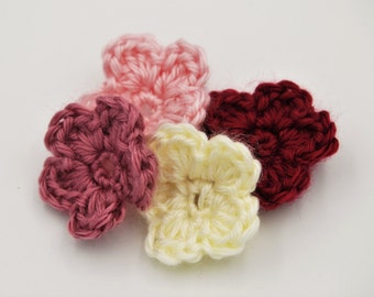 4 pack crochet flower applique. pink flower, cream flower. crochet flower embellishment. knit flower. five petal flower. burgundy flower.