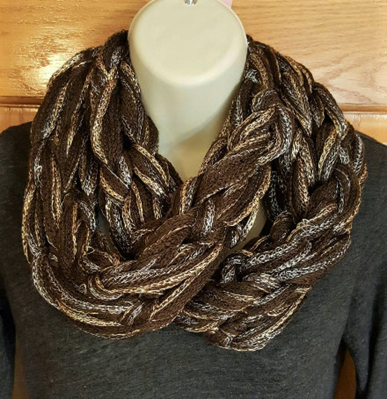 ce8963b91 Brown and silver knit infinity scarf, chunky arm knit scarf, black braided  scarf, plush scarf, brown bulky scarf, brown silver gold metallic