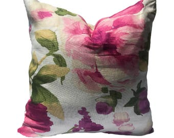 20in or 18in Pillow Cover, Decorative Pillow Cover, pink and green floral Pillow, Throw Pillow, Accent Pillow, Cushion Cover