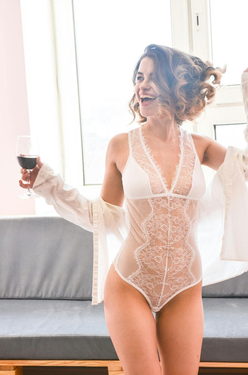 transparent lingerie Mesh bodysuit bridal\\ Open back women bodysuit\\ white lace bodysuit\\ Luxury lingerie leotard