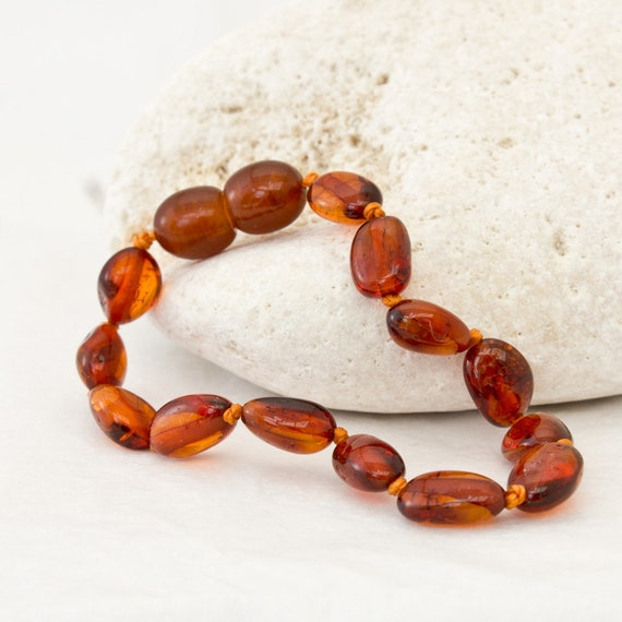 Certified  Genuine Amber Bracelet//Anklet Beads Knotted Sizes 14-21 cm