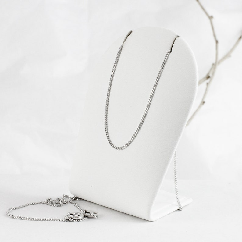 1mm Link Silver Chain for Pendant or Charm Sterling Silver Rhodium Plated Traditional Curb Style Chain 925 Silver Fine Curb Chain 1845cm