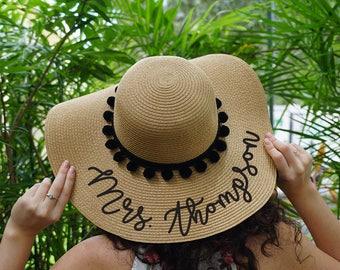 Bride Gift- Custom Floppy Hat Pack- Perzonalized Bride and Tribe  - Floppy hat Bride or tribe and tank bride- Sunshine Bachelorette