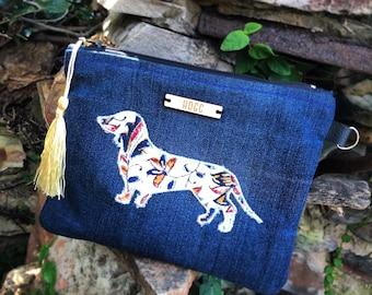 Milly: Dachshund sausage dog clutch purse wristlet