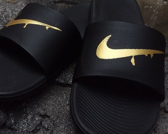 fceda8ea8bf48 Custom Dripping Gold Nike Slides Squeeze Soft Sole - Sandals