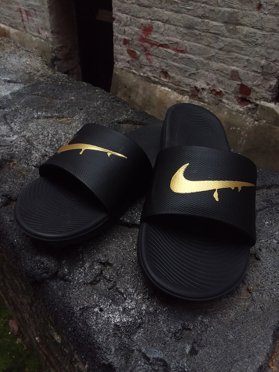 fdf76db92890 ... switzerland custom dripping gold nike slides squeeze soft sole sandals  etsy f037a 2fa6b