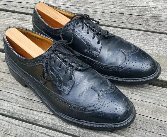 UK Size 8 Very NICE Mens Vintage Black Leather /'Florsheim/' Shoes
