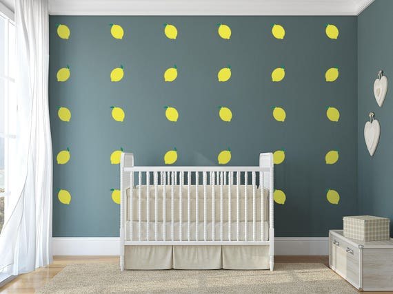lemon nursery wall art food theme vinyl wall decals for | etsy