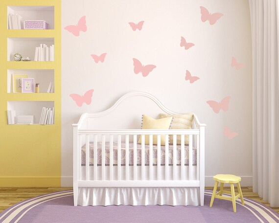 butterflies nursery wall art vinyl wall decals for baby boy | etsy