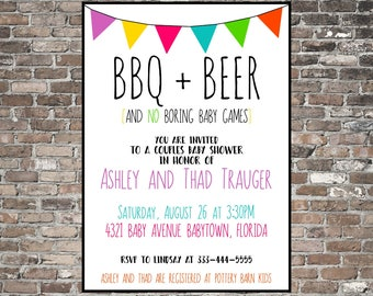 Couples baby shower invitation joint baby shower funny etsy funny couples baby shower invitation bbq beer printable barbecue fiesta colorful filmwisefo