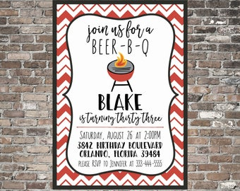 BEER B Q Birthday Invitation ~ Fun BBQ Invite ~ Adult | Funny | Party | Printable | Outdoor | Grill | Backyard | Grown Up ~ Red | Black