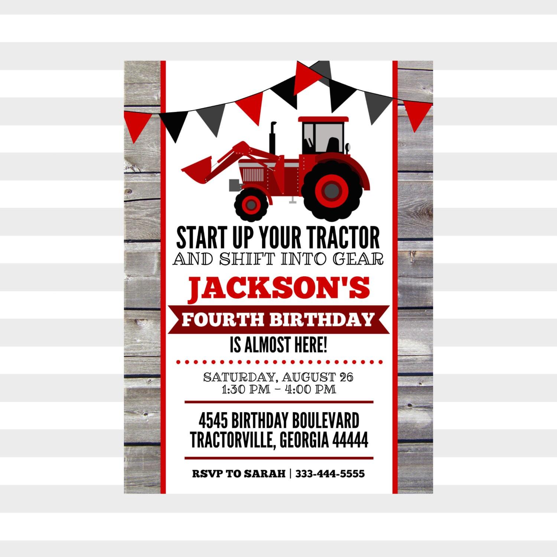 Tractor Birthday Party Invitation Personalized Birthday | Etsy