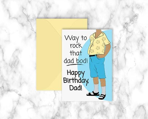 Dad Bod Happy Birthday Printable Card Discontinued Make Etsy