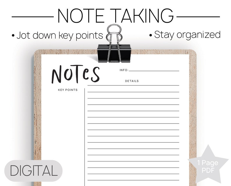 Printable Notes Printable Notes Note Taking School Organizer Lecture Notes College Notes Note Taking Template Notes Pdf Student Pdf
