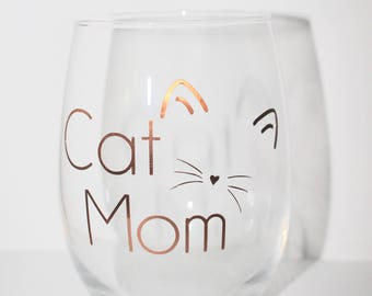 Cat Mom Stemless 15 Ounce Wine Glass | Copper/Gold/Rose Gold Lettering Options | Whiskers & Cat Ears | Mother's Day Gift | Cat Lover Present