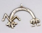 Navajo Naja Yeibei Pendant For Necklace, Crescent Moon Silver Pendant, Southwestern Folk Jewelry, Handmade Sandcast Yei Bei Kachina Doll Art