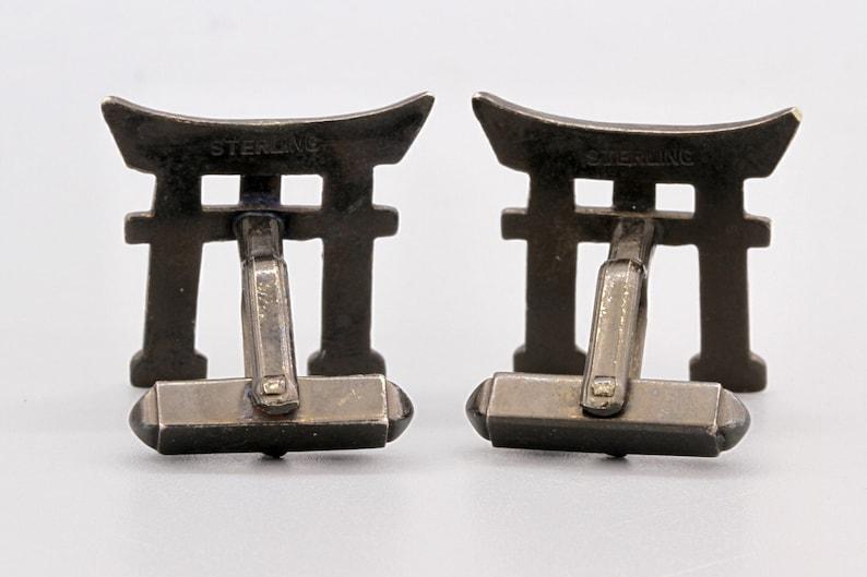 Vintage 50s Art Deco Jewelry Asia Oriental Figural Cuff Links 950 Sterling Cufflinks Japanese Torii Shinto Gates Architecture Sculpture Art